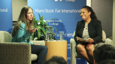 Chelsea Clinton addresses MDC students with moderator Pascale Charlot, dean of the Honors College at MDC.
