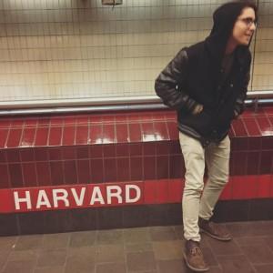 Arturo waiting for the train in Cambridge