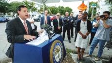 Commissioner Frank Carollo speaks at Goals Not Guns event