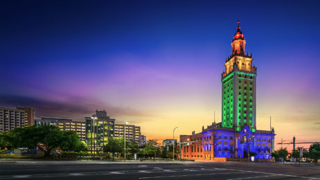 Miami Dade College Freedom Tower IIluminated in Pride colors