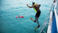 MDC students take a plunge during a tour of Biscayne National Park
