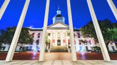 The historic Florida State Capitol Building in Tallahassee, Florida.