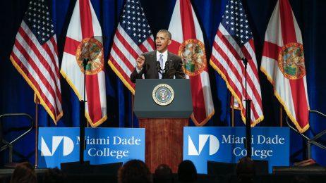 President Barack Obama speaks at Miami Dade College's Wolfson Campus