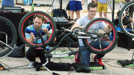 Participants in a previous TRAFFIC JAM event played their bicycle spokes — outfitted with microphones.