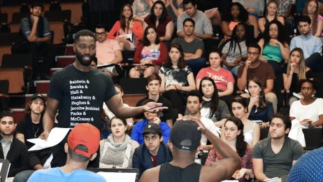 Writer/actor and MDC New World School of the Arts alumnus Tarell Alvin McCraney leads a Master Class rehearsal for performing arts students.
