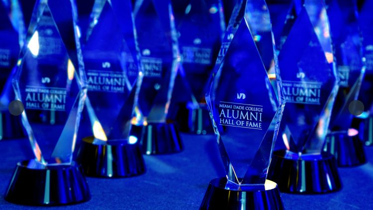 Alumni Hall of Fame trophies