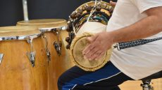 close up of hand drumming