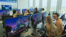 Students at computers at the new center