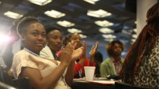 Young people attending conference