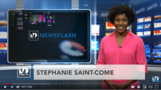 Female news reporter in studio