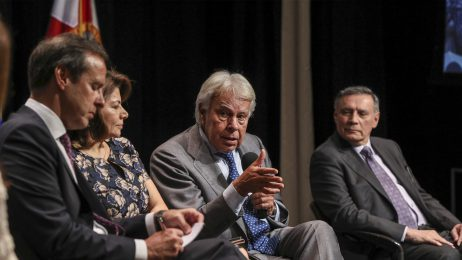 panelists on stage in discussion