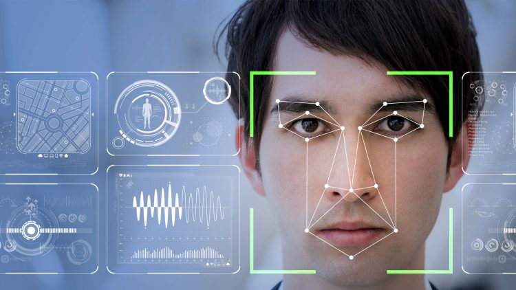 Facial Recognition technology on a young man's face
