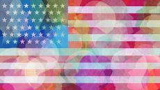 Amerian flag rainbow graphic overlayed with profiles