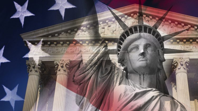 Graphic with Statue of Liberty, American flag and Supreme Court building