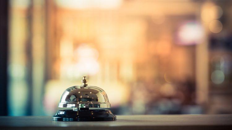 Hotel bell at front desk
