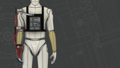 Rendering of exoskeleton arm device