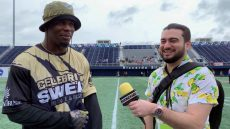 Gustavo Chacon interviewing Jerome Baker, Linebacker for the Miami Dolphins. Photo courtesy of Gustavo Chacon.