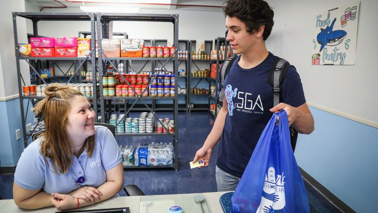 Student greeted at MDC Food Pantry