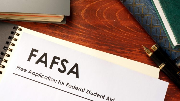 Desk with FAFSA paper
