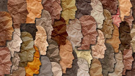 Diverse profiles of faces made from crumpled paper