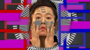 artwork of asian woman with hands on face