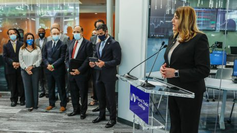President Madeline Pumariega and members of the District Board of Trustees, joined by Miami Mayor Francis Suarez at announcement